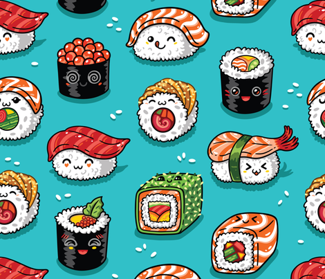 Cute kawaii sushi fabric by penguinhouse on Spoonflower - custom fabric