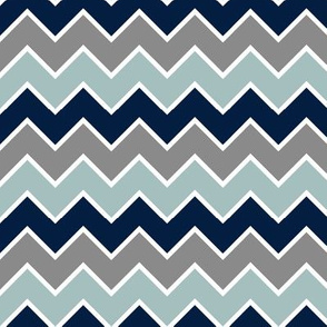 multi traditional chevron - dusty blue and navy