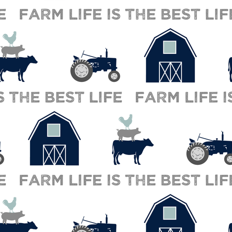 farm life is the best life - navy and dusty blue fabric by littlearrowdesign on Spoonflower - custom fabric