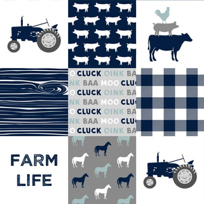 farm life - farm fabric wholecloth navy and dusty blue with woodgrain &  plaid