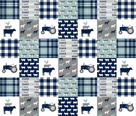 farm life - tractor wholecloth patchwork - navy and dusty blue fabric by littlearrowdesign on Spoonflower - custom fabric