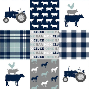 farm life - tractor wholecloth patchwork - navy and dusty blue