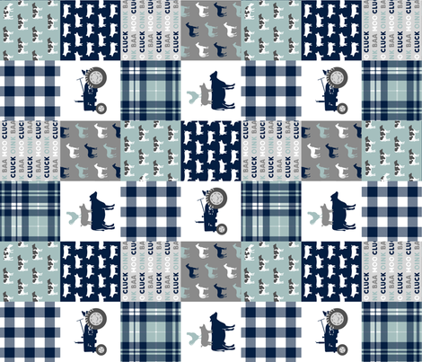 farm life - plaid wholecloth patchwork - navy and dusty blue (90)  fabric by littlearrowdesign on Spoonflower - custom fabric