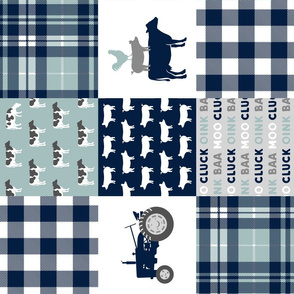 farm life - plaid wholecloth patchwork - navy and dusty blue (90)