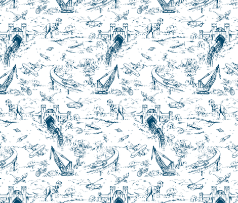 ADVENTURE TOILE_INDIGO fabric by pattern_state on Spoonflower - custom fabric