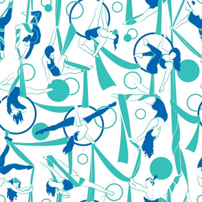 Circus dancers // white background moonstone blue & lapis lazuli ribbons circles bows & dancers