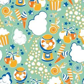 Pick your circus treat // sea foam green background white cotton candy orange & saffron fruits ice creams & lollipops lapis lazuli stars