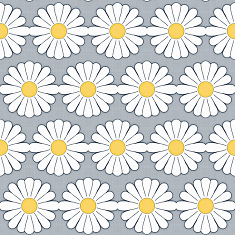 Summer Daisy Chain Yellow,gray,white fabric by franbail on Spoonflower - custom fabric