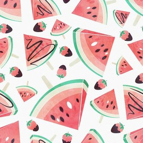 Watermelon popsicles, strawberries & chocolate // white background delicious coral red ice cream & fruits cover with melted brown chocolate