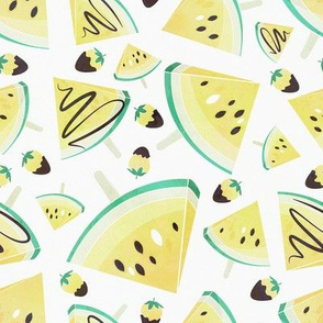 Yellow watermelon popsicles, strawberries & chocolate // white background delicious pale yellow ice cream & fruits cover with melted brown chocolate