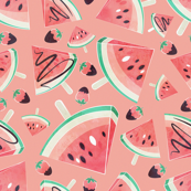 Watermelon popsicles, strawberries & chocolate // peach background delicious coral red ice cream & fruits cover with melted brown chocolate