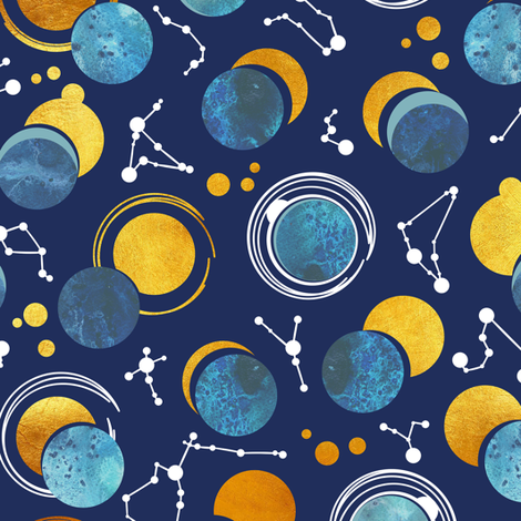 Great Total Solar Eclipse // blue navy background blue moons golden sun reflections white constellations fabric by selmacardoso on Spoonflower - custom fabric