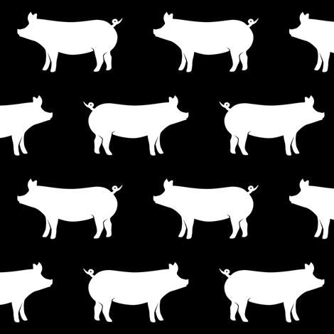 pigs on black fabric by littlearrowdesign on Spoonflower - custom fabric