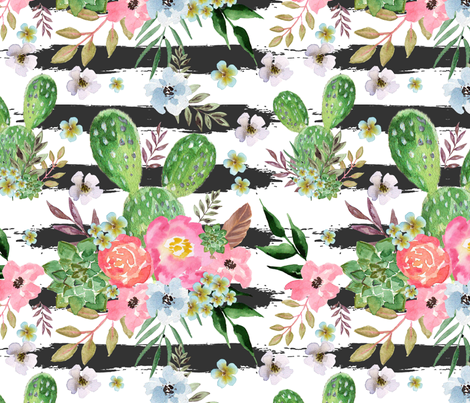 Cactus and floral Strips background fabric by teart on Spoonflower - custom fabric