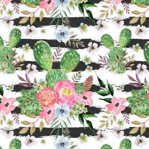 Cactus and floral Strips background