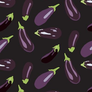 16-13E Eggplant Aubergine Vegetable Garden Purple Green Black _ Miss Chiff Designs