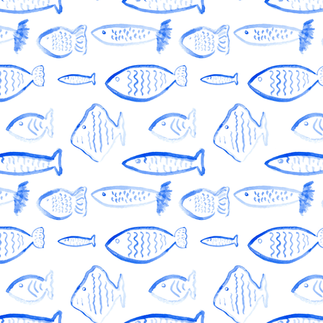Nautical Blue Fish Watercolor || Royal Sky Ocean Water Sea Scales Animal _ Miss Chiff Designs  fabric by misschiffdesigns on Spoonflower - custom fabric