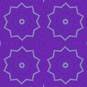 Gray Blue Purple Petals Star Fabric Wallpaper Pattern by Tell3People