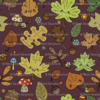 Kawaii Leaves on Burgandy