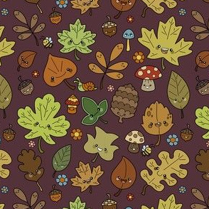 Kawaii Leaves on Burgandy