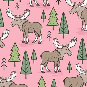 Forest Woodland Moose & Trees on Pink