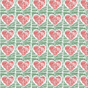 Let It Snow White Red Green Love Hearts Fabric Wallpaper Pattern by Tell3People