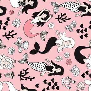 Sweet little mermaid girls theme with deep sea ocean coral illustration details in pink black and white