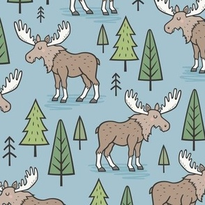 Forest Woodland Moose & Trees on Blue