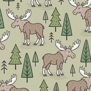 Forest Woodland Moose & Trees on Green Olive