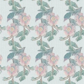 Distressed Antique Linen Floral Stripe || Flower pink jade green french blue france