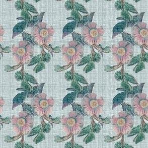 Antique Linen Floral Stripe || Flower Pink Jade Green Blue France French