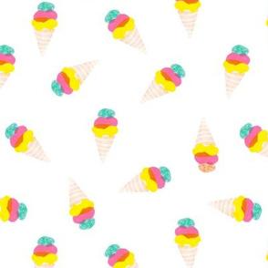 Watercolor ice ream cones neon bright pop color illustration candy