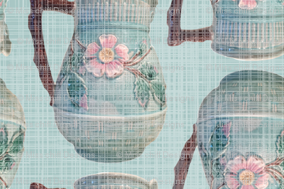 French Antique Majolica Pitcher Linen || France Blue Teal Green Pink Brown ceramics _ Miss Chiff Designs