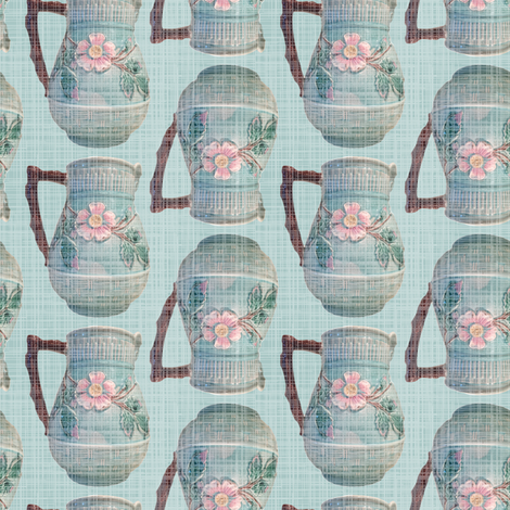 French Antique Majolica Pitcher Linen || France Blue Teal Green Pink Brown ceramics _ Miss Chiff Designs  fabric by misschiffdesigns on Spoonflower - custom fabric
