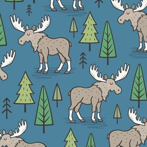 Forest Woodland Moose & Trees on Dark Blue Navy