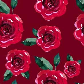 """8"""" WINTER ROSES / VELVET RED"""