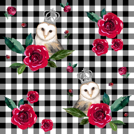 "8"" WINTER OWLS / MIX & MATCH / BLACK & WHITE PLAID fabric by shopcabin on Spoonflower - custom fabric"