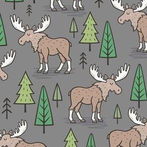 Forest Woodland Moose & Trees on Dark Grey
