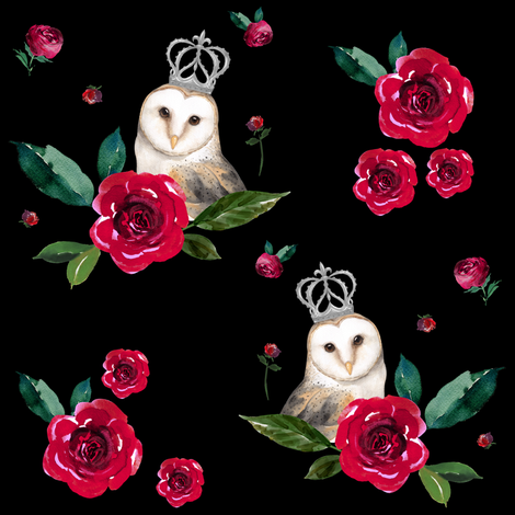 "8"" WINTER OWLS / MIX & MATCH / BLACK fabric by shopcabin on Spoonflower - custom fabric"