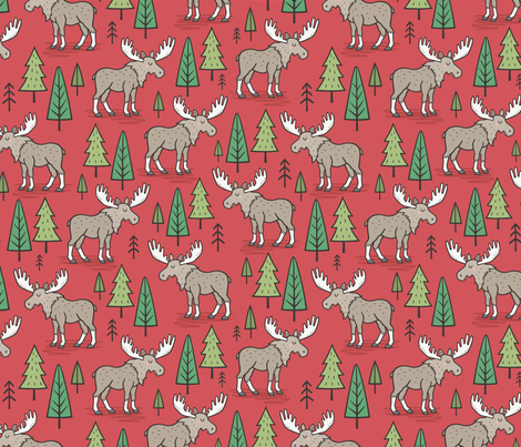 Forest Woodland Moose & Trees on Red fabric by caja_design on Spoonflower - custom fabric