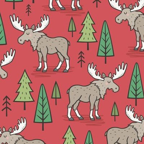 Forest Woodland Moose & Trees on Red