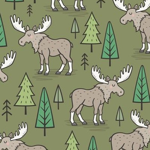 Forest Woodland Moose & Trees on Dark Green