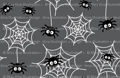 tiny spiders and webs on dark grey » halloween