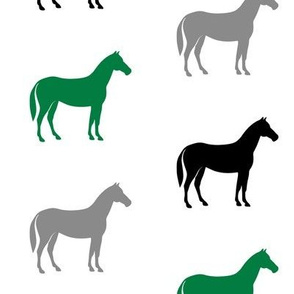 multi horses - green and black farm collection