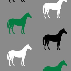 multi horses - green and black on grey farm collection