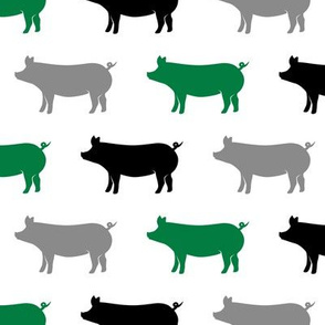 multi colored pigs - (green, black, grey) farm fabric