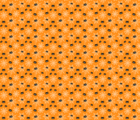 tiny spiders and webs on orange » halloween fabric by misstiina on Spoonflower - custom fabric