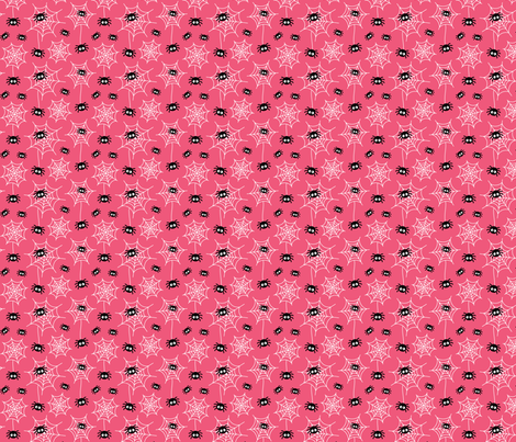 tiny spiders and webs on hot pink » halloween fabric by misstiina on Spoonflower - custom fabric