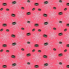tiny spiders and webs on hot pink » halloween