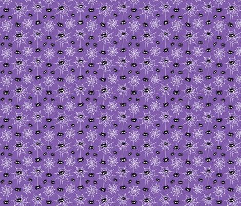 tiny spiders and webs on purple » halloween fabric by misstiina on Spoonflower - custom fabric
